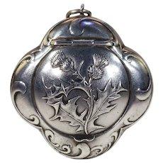 Antique Silver Victorian Thistle Compact Locket Pendant