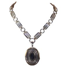 Antique Victorian Sterling Silver Collar and Locket Necklace