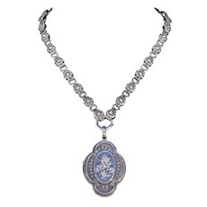 Antique Victorian Silver Collar and Locket Necklace with Floral engraving