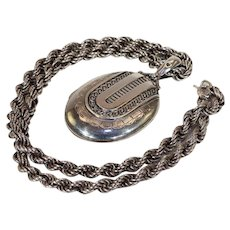 Antique Victorian Silver Collar and Locket Set, Birmingham 1876