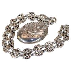 Antique Victorian Silver Collar and Locket Necklace