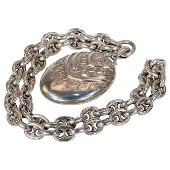 Antique Victorian Silver Collar and Locket Necklace