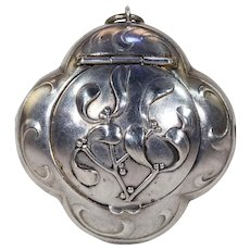 Antique French Silver Mistletoe Powder Compact Pendant Locket