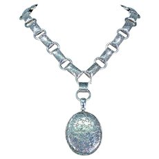 Antique Victorian Collar and Locket Necklace Set in Sterling Silver