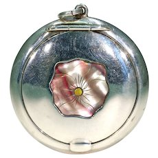 Antique Silver Compact Pendant Mother of Pearl Pansy