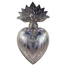 Antique French Ex-Voto Silver Heart Fire