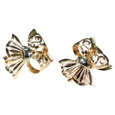 18k Rose and White Gold Bow Earrings Vintage 1950s