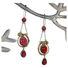 Victorian Cabochon Garnet Snake Earrings in 15k Gold