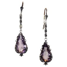 Silver Faceted Pear Cut Amethyst and Marcasite Drop Earrings 14k Hooks