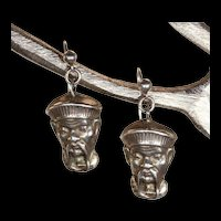 Antique Victorian Chinoiserie Silver Earrings