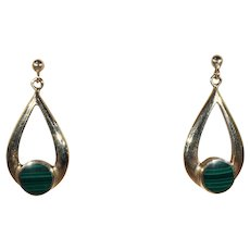 Vintage Malachite and Gold Elongated Hoop Earrings in 9k Gold, Made in England