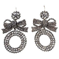Antique Cut Steel Bow and Hoop Earrings with Silver Wires