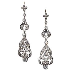 Antique French Paste Chandelier Earrings in Silver with Gold Wires