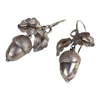 Antique Victorian Silver Acorn Earrings