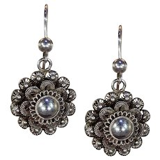 Victorian Silver Wirework Floral Earrings