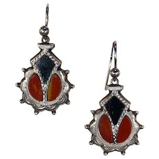 Antique Victorian Scottish Carnelian Bloodstone Silver Earrings