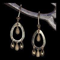 Vintage 18k Gold Oval Multi-Drop Earrings