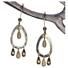 Vintage 18k Gold Oval Multi-Drop Earrings