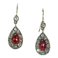 Antique Victorian Garnet Diamond Drop Earrings