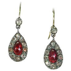 Antique Victorian Garnet Diamond Drop Earrings