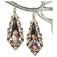 Georgian Swiss Enamel Portrait Earrings