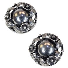 Vintage Silver Clip Earrings by N.E. From