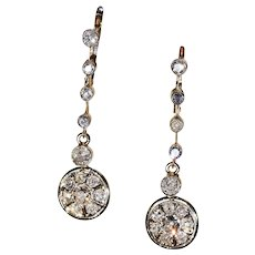 Antique Edwardian 2.3 cttw Dangly Diamond Earrings - Red Tag Sale Item