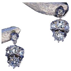 Reserved for Carolyn ~ Antique Early Victorian Diamond Earrings in Silver and Gold, c. 1850
