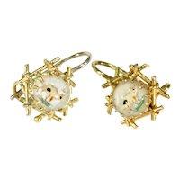 Antique Essex Crystal Pig Earrings 18k Gold