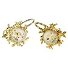 Antique Essex Crystal Pig Earrings 18k Gold