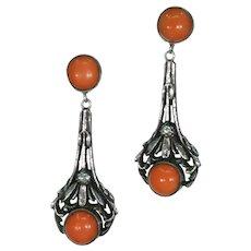 Antique Sterling Silver Coral Art Nouveau Earrings