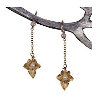 Antique French Ivy Leaf Earrings Back-to-Front