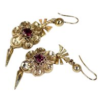 Antique Victorian Pinchbeck Red Paste Earrings