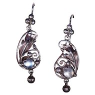 Antique Arts & Crafts Moonstone Silver Earrings