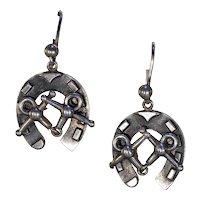 Antique Victorian Silver Horseshoe Earrings