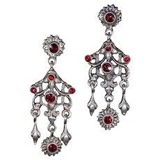 Victorian Zoltan White Garnet Silver Earrings