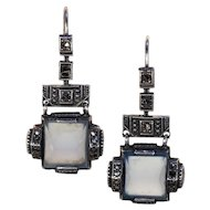 Vintage Silver Art Deco Marcasite Glass Earrings