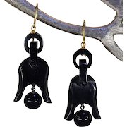 Lovely Antique Victorian Jet Earrings Mourning