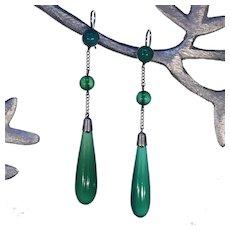 Edwardian Silver Chalcedony Drop Earrings