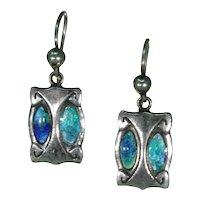 Antique Arts & Crafts Enamel Silver Earrings