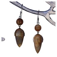 Victorian Carved Agate Silver Acorn Drop Earrings