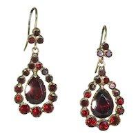 Lovely Georgian Garnet Drop Earrings in 15k Gold