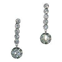 Vintage 1950s Platinum Diamond Drop Earrings