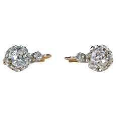 Antique French Diamond Semi-Stud Earrings 2.14 cttw