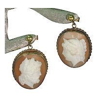 Victorian Gold Cameo Earrings Man and Woman