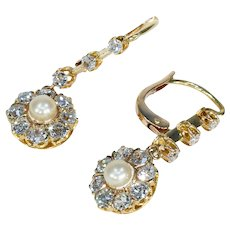 Antique Edwardian Diamond Pearl Cluster Earrings in 18k Gold