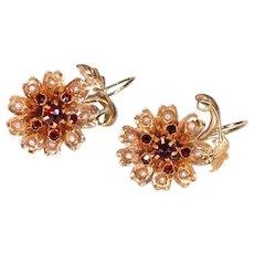 Victorian Garnet Pearl Earrings 18k Gold