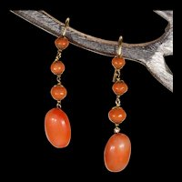 Antique Victorian Coral Drop Earrings 18k Gold