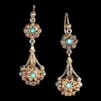 Antique Victorian Etruscan Revival Turquoise Set 15k Gold Drop Earrings