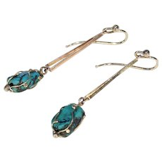 Edwardian Turquoise 15k Gold Earrings